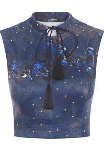 Top Cropped Malha Prene - Azul