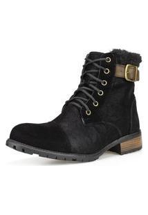 Bota Casual Ankle Boot Cano Curto Dhatz Confortável Inverno Preta