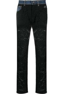 Dolce & Gabbana Calça Jeans Boyfriend Com Recorte De Renda - Azul
