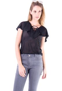 Blusa Gup'S Jeans Linhas Babado Preta