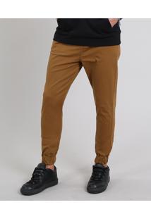Calça De Sarja Masculina Jogger Skinny Caramelo
