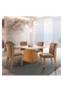 Conjunto De Mesa De Jantar Luna Com Tampo Off White E 4 Cadeiras Grécia Suede Chocolate E Imbuia
