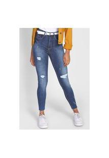 Calça Jeans Lunender Skinny Destroyed Azul