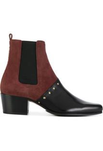 Balmain Ankle Boot Bicolor Com Tachas - Vermelho