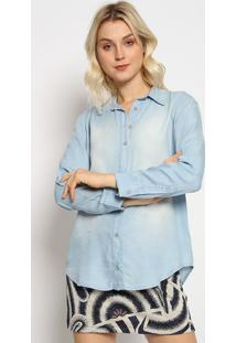 Camisa Jeans Com Tag - Azul Claro - Sommersommer
