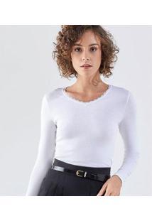 Camiseta Liz Easywear Camiseta Manga Longa Feminina - Feminino-Branco