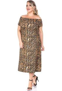 Vestido Onça Rajada Marrom Plus Size
