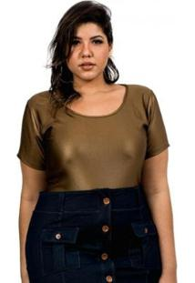 Body Beline Plus Size Em Suplex Cirrê Dourado Lenner - Feminino-Dourado