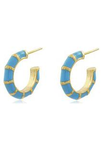 Brinco Viva Jolie Argola Pequena Colors Azul Turquesa Banho Em Ouro