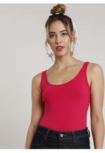 Regata Feminina Básica Decote Redondo Rosa Escuro