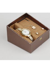 Kit De Relógio Analógico Mondaine Feminino + Brinco + Colar - 99262Lpmvde1K Dourado - Único