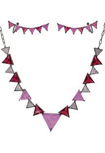 Conjunto Infine Choker E Brincos Ear Cuff Geométrico Vermelho E Rosa - Kanui