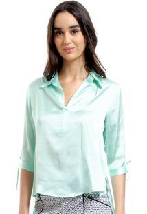 Camisa 101 Resort Wear Polo Cetim Liso Verde Agua