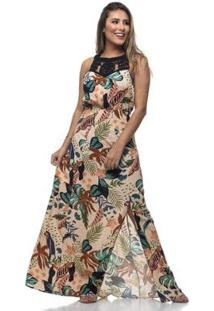 Vestido Clara Arruda Longo Decote Macramê - Feminino-Laranja
