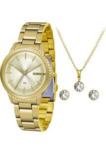 Kit De Relógio Analógico Lince Feminino + Brinco + Colar - Lrg4564L Kk10C1Kx Dourado