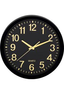 Relógio De Parede - Preto & Dourado - Ø35X5,5Cm Mart