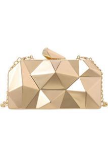Bolsa Clutch Liage Geometrica Alã§A RemovãVel AcrãLico Metal Dourada - Dourado - Feminino - Dafiti