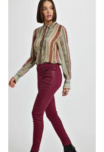 Calça De Sarja Basic Skinny High Resinada Colors Vermelho Disco
