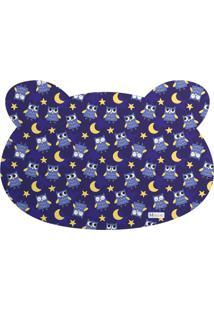 Tapete Pet Mdecore Urso Coruja Azul Marinho 54X39Cm