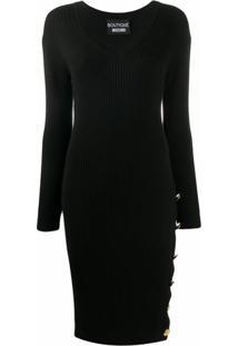 Boutique Moschino Vestido Com Botão Na Lateral - Preto