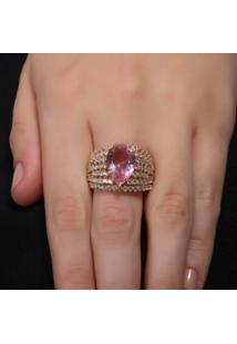 Anel Rosa Pinhal Filetes Cravejado Em Zircônias E Gota De Cristal Rosê