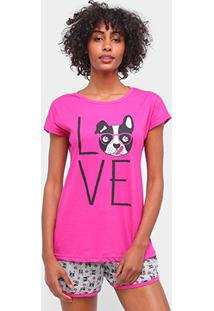 Pijama Curto Three Hands Shot Doll Love Feminino - Feminino-Rosa