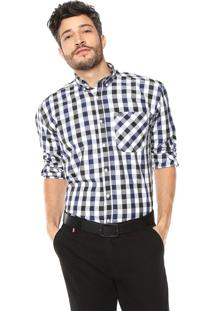 Camisa Wrangler Xadrez Branca/Azul