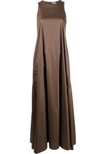 Peserico Vestido Longo Evasê Sem Mangas - Marrom
