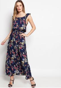 878674c68 ... Vestido Longo Floral Com Babados- Azul Marinho & Vermelhbhl
