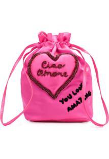 Giada Benincasa Embellished Drawstring Bag - Rosa
