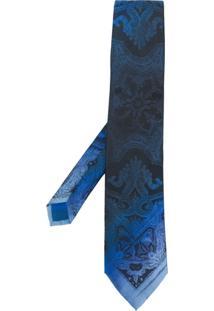 Etro Gravata De Seda Degradê - Azul