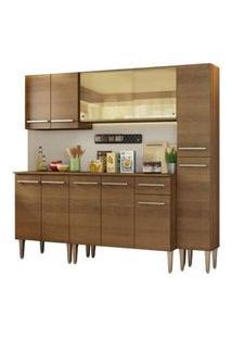 Cozinha Completa Madesa Emilly West Com Balcão, Armário Vidro Reflex E Paneleiro Rustic