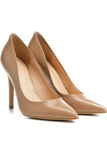 Scarpin Couro Shoestock Salto Alto Color - Feminino-Nude