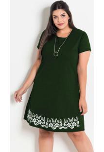 Vestido Verde Militar Plus Size Com Barra Floral