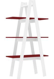 Estante Escada- Branca & Vermelha- 144,6X77X33Cmmovel Bento