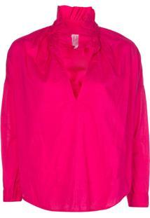 A Shirt Thing Blusa Com Babados Na Gola - Rosa