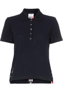 Thom Browne Camisa Polo Com Listras - Azul