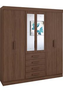 Guarda Roupa Casal Com Espelho 6 Portas 4 Gavetas Celebrare - Marrom - Dafiti