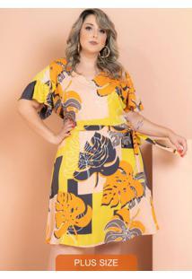 Vestido Helena Folhagem Amarelo Plus Size