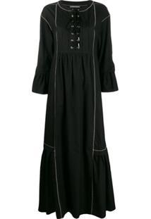 Alberta Ferretti Vestido Longo Com Detalhe De Amarração - Preto