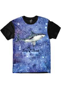 Camiseta Long Beach S Aquarela Tubarão Perfil Sublimada Masculina - Masculino-Azul+Preto