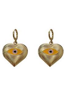 Brinco Narcizza Coração Olho Grego Amarelo - B551(Atl)A