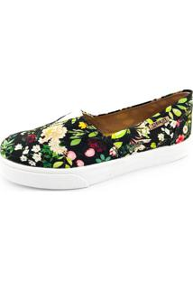 Tênis Slip On Quality Shoes Feminino 002 Floral Azul Preto 201 35