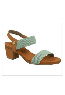 Sandalias Em Couro Com Elástico Usaflex Verde Mojito Y8204