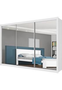 Guarda-Roupa Casal Espelhado 3 Portas E 6 Gavetas Toronto - Móveis Europa - Branco