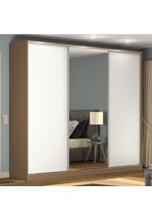 Guarda-Roupa Casal 3 Portas Correr 1 Espelho 100% Mdf Rc3002 Ocre/Branco - Nova Mobile