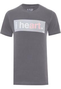Camiseta Masculina I Heart Art - Cinza