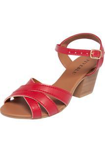 Sandália Fiveblu Salto Grosso Vermelha