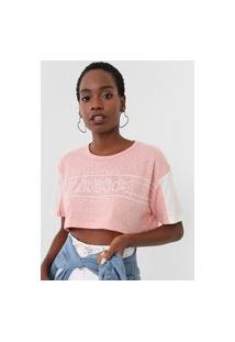 Camiseta Cropped Tricats Forever Rosa/Off-White