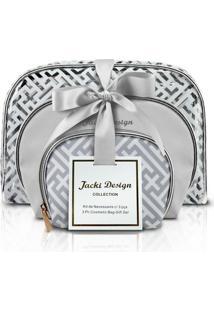 Kit De Necessaire Com 3 Peças Jacki Design - Feminino-Prata
